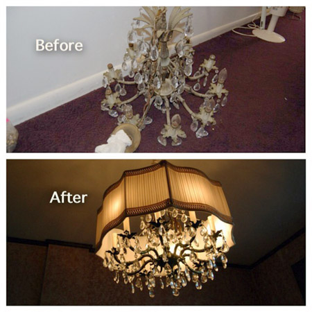 Antique light before and after